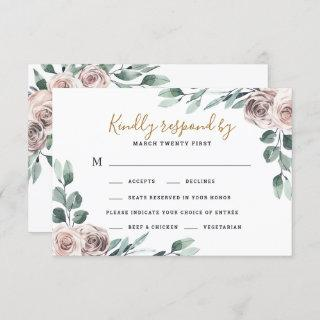 Dusty Rose 2 Meal Choice Greenery Floral Wedding RSVP Card