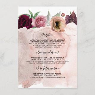 Dusty Rose and Burgundy Wedding Information Enclosure Card