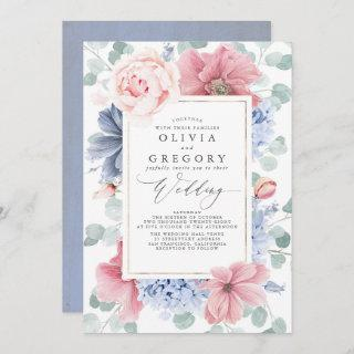 Dusty Rose and Dusty Blue Flowers Elegant Wedding Invitations