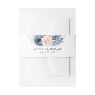Dusty Rose And Navy Blue Floral Wedding  Belly Band