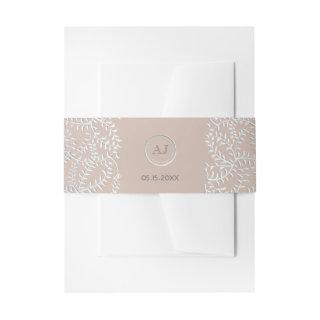 Dusty Rose and Silver Floral Monogram Wedding Invitation Belly Band