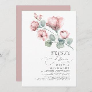 Dusty Rose Floral Elegant Minimal Bridal Shower Invitation