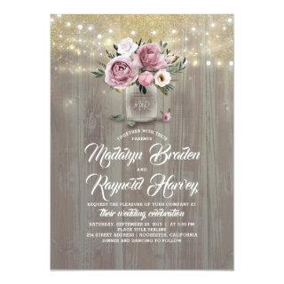 Dusty Rose Floral Mason Jar Rustic Wedding Invitations