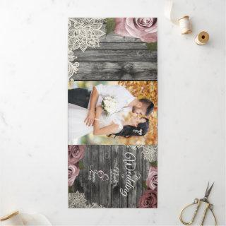 Dusty Rose Grey Wood Trifold Wedding Program