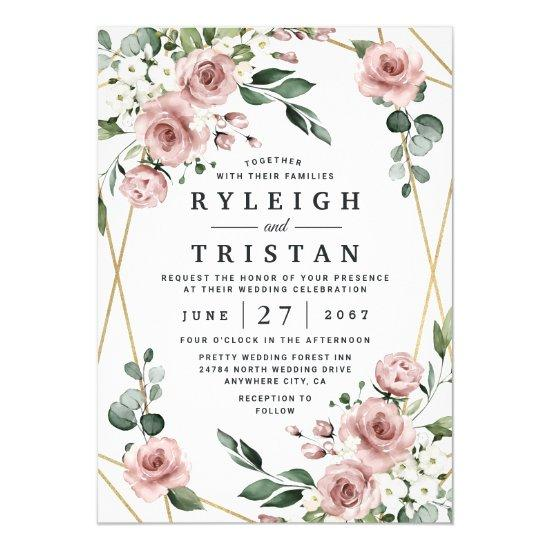 Dusty Rose Pink and Gold Floral Greenery Wedding Invitations