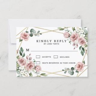 Dusty Rose Pink and Gold Floral Greenery Wedding RSVP Card