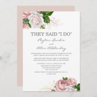 Dusty Rose Pink Floral White Elopement Reception Invitations