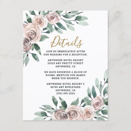 Dusty Rose Pink Mauve Gold Greenery Floral Wedding Enclosure Card