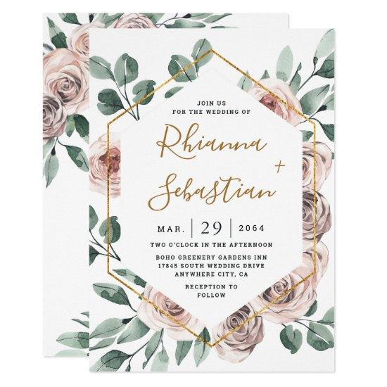 Dusty Rose Pink Mauve Gold Greenery Floral Wedding Invitations