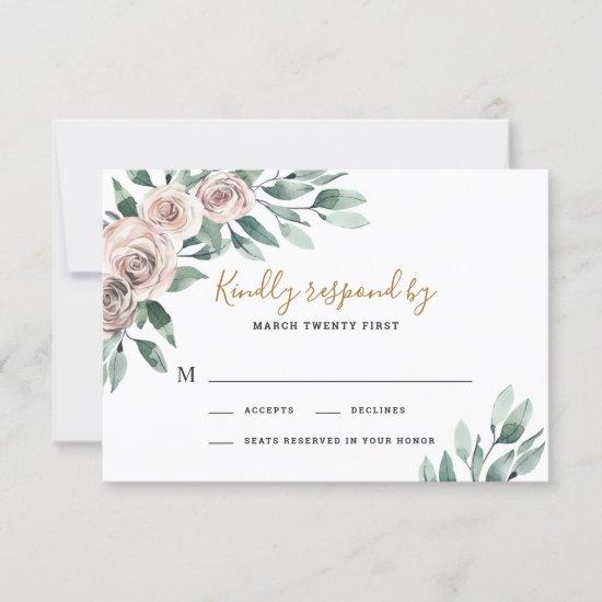 Dusty Rose Pink Mauve Gold Greenery Floral Wedding RSVP Card