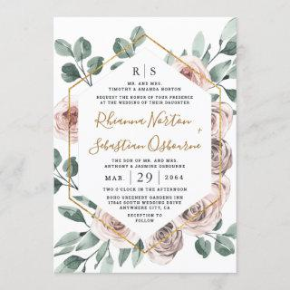 Dusty Rose Pink Mauve Greenery Floral Gold Wedding Invitations