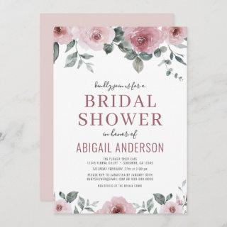 Dusty Rose Watercolor Floral Bridal Shower Invitation