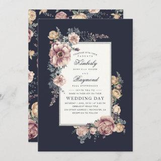 Earthy Dusty Rose and Navy Blue Floral Wedding Invitations
