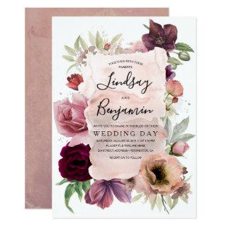 Earthy Tones Burgundy Floral Vintage Wedding Invitations