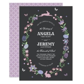 Easter Floral Wreath Wedding Invitations