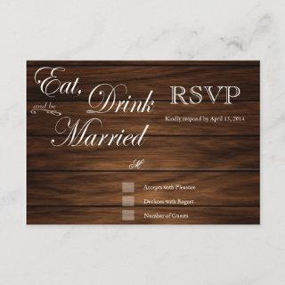 Eat Drink and be married barn wood rsvp cards