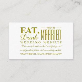Eat, Drink and be Married Gold Wedding Website Enclosure Card