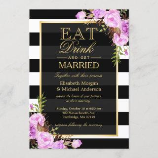 EAT Drink and Be Married Purple Floral Wedding Invitations