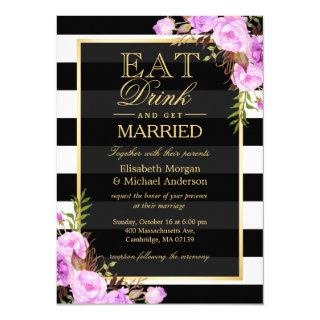 EAT Drink and Be Married Purple Floral Wedding Invitation