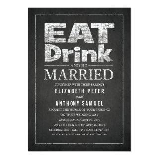Eat Drink and Be Married Unique Creative Wedding Invitations