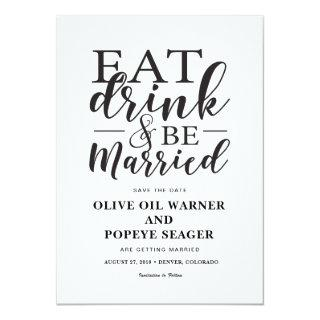 Eat Drink and Be Married Wedding Save the Date Invitations