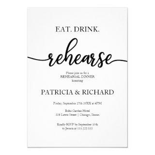 Eat Drink Rehearse Simple Elegant Rehearsal Dinner Invitation