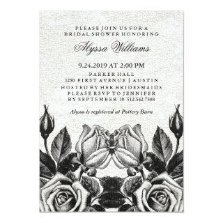 Edgy Victorian Roses Black and White Bridal Shower Invitations
