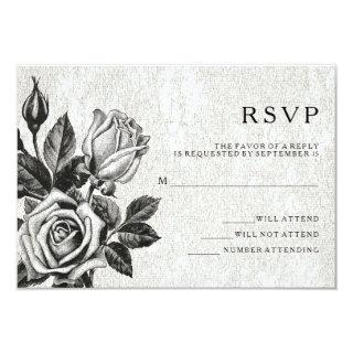 Edgy Victorian Roses Black and White RSVP Invitations