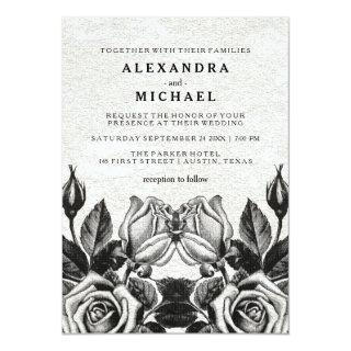 Edgy Victorian Roses Black and White Wedding Invitations