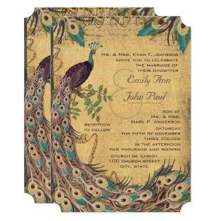 Eggplant Aqua  Peacock Vintage 3 Feathers Invitations