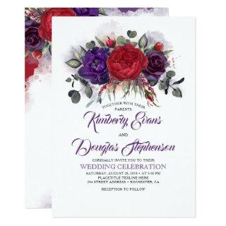 Eggplant Purple and Burgundy Floral Fall Wedding Invitation