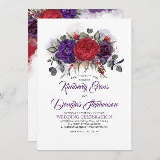 Eggplant Purple and Burgundy Floral Fall Wedding Invitations