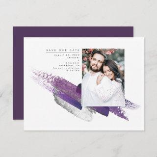 Eggplant Purple and Silver Save the Date Photo