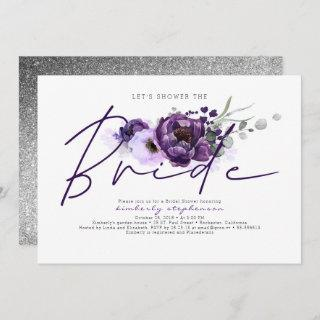 Eggplant Purple Floral Calligraphy Bridal Shower Invitations