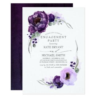 Eggplant Purple Floral Elegant Engagement Party Invitation