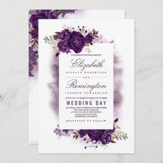 Eggplant Purple Floral Elegant Watercolor Wedding Invitations