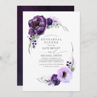 Eggplant Purple Floral Modern Rehearsal Dinner Invitations