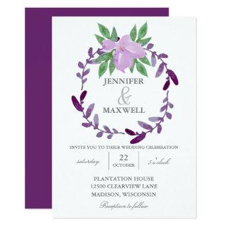 Eggplant Purple Floral Vine Spring Wedding Invitation