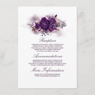 Eggplant Purple Floral Wedding Information Guest Enclosure Card