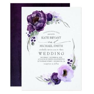 Eggplant Purple Peony and Greenery Silver Wedding Invitations