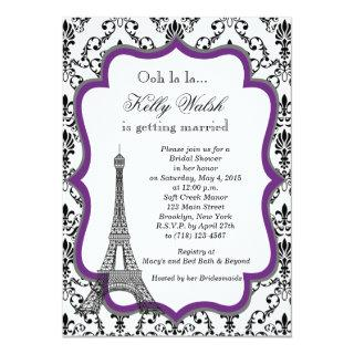 Eiffel Tower Purple Paris Bridal Shower Invitation