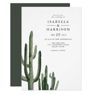 Eleanor - Minimal Saquaro Cactus Desert Wedding Invitations