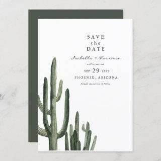 Eleanor - Minimal Saquaro Cactus Save the Date Invitations