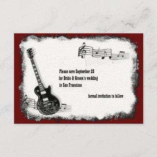 Electric Guitar Black Red Music Save the Date