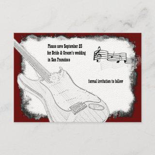 Electric Guitar Black Red White Music Save Date Save The Date