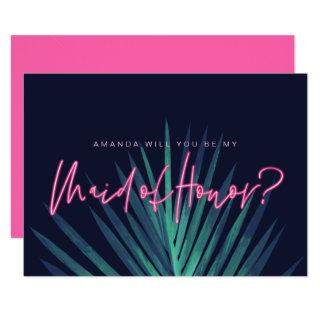 Electric Love Neon Pink Be My Maid of Honor? Invitation