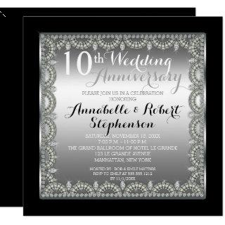 Elegant 10th Silver and Diamonds Anniversary Invitations