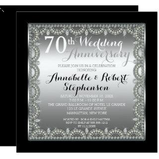 Elegant 70th Silver and Diamonds Anniversary Invitations