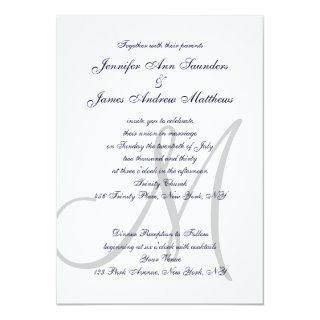 Elegant Affair Navy Blue Grey Monogrammed Wedding Invitations