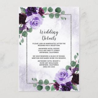 Elegant Airy Boho Floral Purple and Silver Wedding Enclosure Card